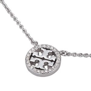 Tory Burch • Silver Crystal Logo Circle Necklace
